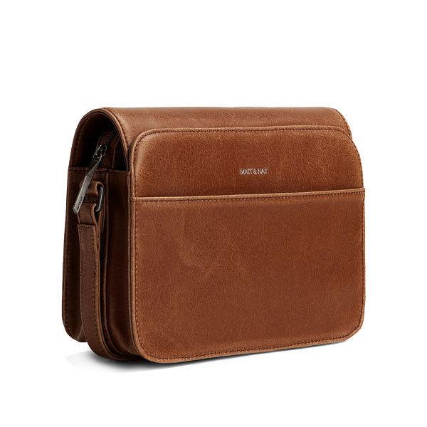 Brown vegan leather crossbody bag Elle