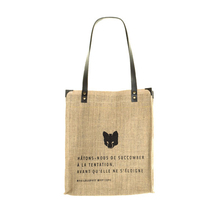 "Jute canvas and leather Tote bag ""Solitaire"" - Tentation - Jovens"