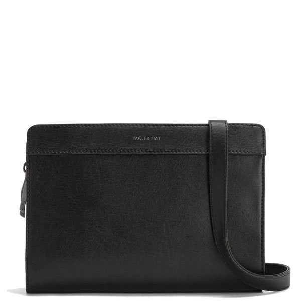 bc635041e657 Black vegan leather crossbody bag Castell - Matt   Nat