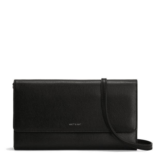 811371b1f4 Black vegan leather clutch bag Drew LG - Matt   Nat