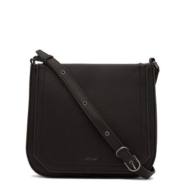 Mini black vegan leather clutch bag Mara - Matt   Nat 3f40757174a6a