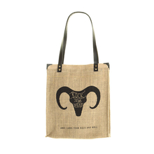 "Jute canvas and leather Tote bag ""Solitaire"" - Head Bouc - Jovens"