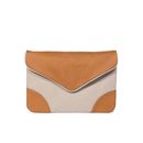 Leather Clutch - Love - Caramel/Grey