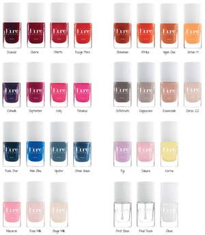 Kure Bazaar natural nail lacquers color range