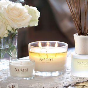 Each Neom scented candle is made from soy wax and pure essential oils